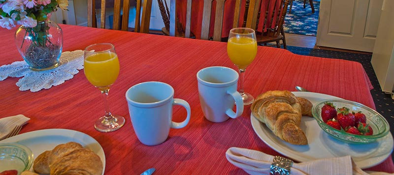 Breakfast With Orange Juice and Croissants